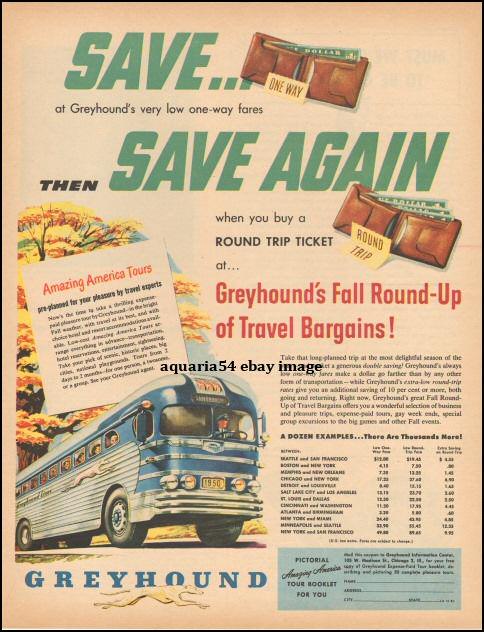 1950 Greyhound Bus Busline Travel Fares Print Vintage Advertisement AD
