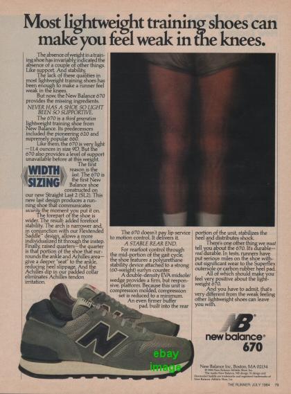 1984 Vintage New Balance NB 670 Tennis Running Shoes Photo ...